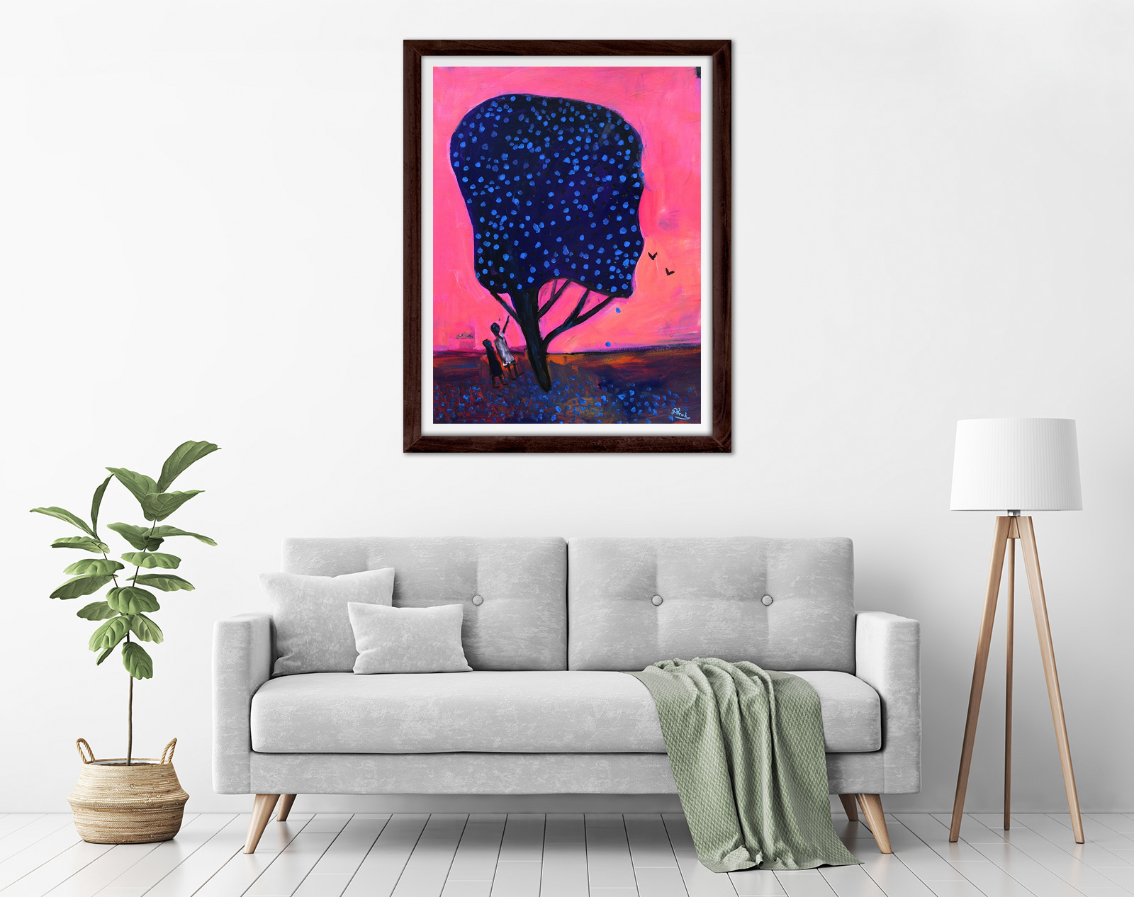 Glenn Brady - 'Girls with Blue Flower Tree' Framed in a room