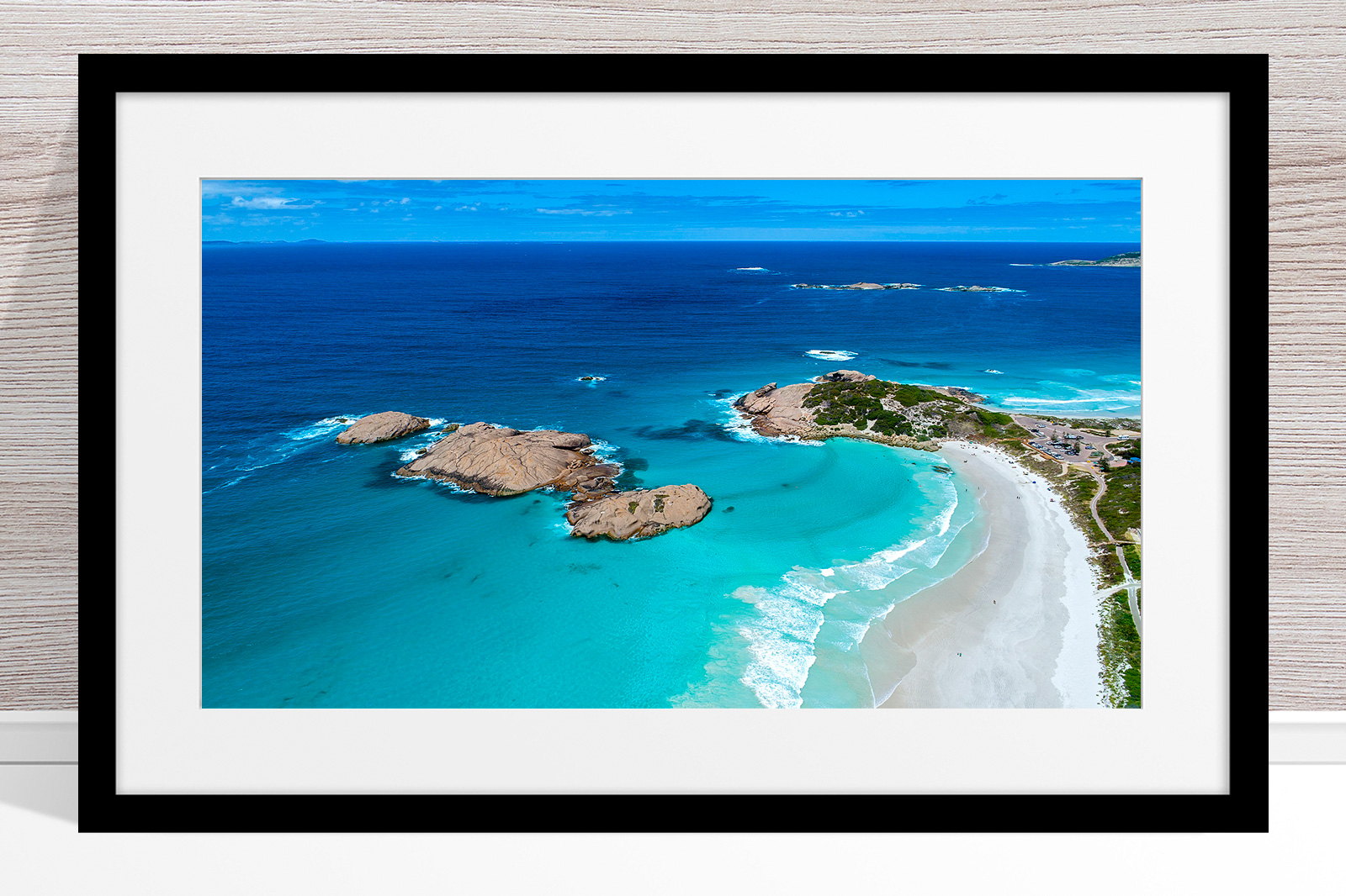 011 - Jason Mazur - 'Twilight Beach Aerial, Esperance' Black Frame