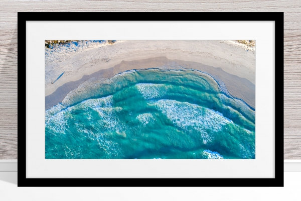 014 - Jason Mazur - 'Twilight Beach Aerial, Esperance' Black Frame