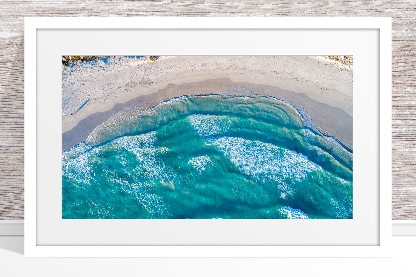 014 - Jason Mazur - 'Twilight Beach Aerial, Esperance' White Frame