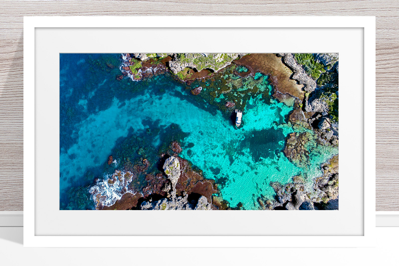 056 - Jason Mazur - 'Fish Hook Bay' White Frame