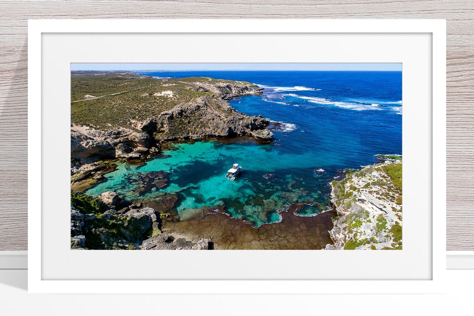 059 - Jason Mazur - 'Fish Hook Bay' White Frame