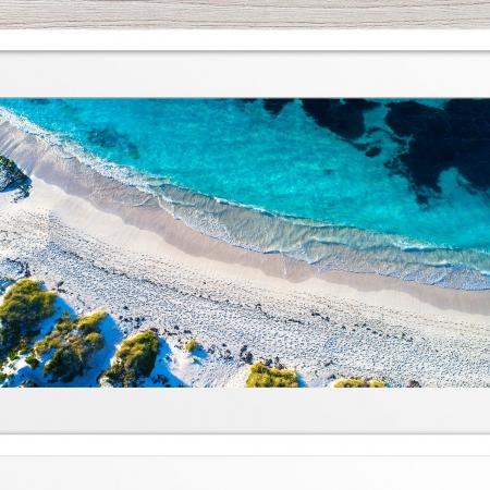 Jason Mazur - 'Pinkys Beach Aerial' 052 White Frame