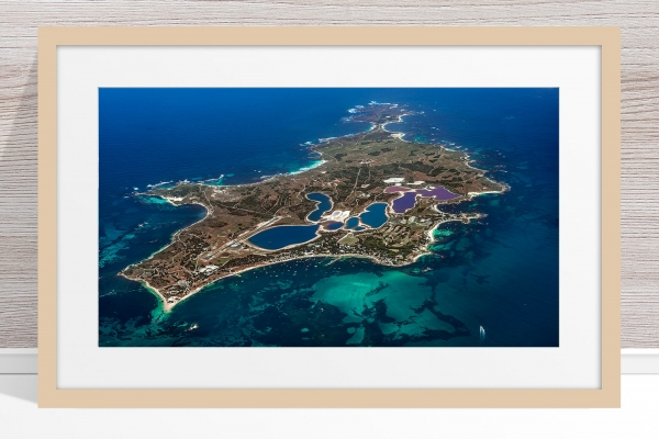 Jason Mazur - 'Rottnest Island From Above - 003' Light Wood Frame