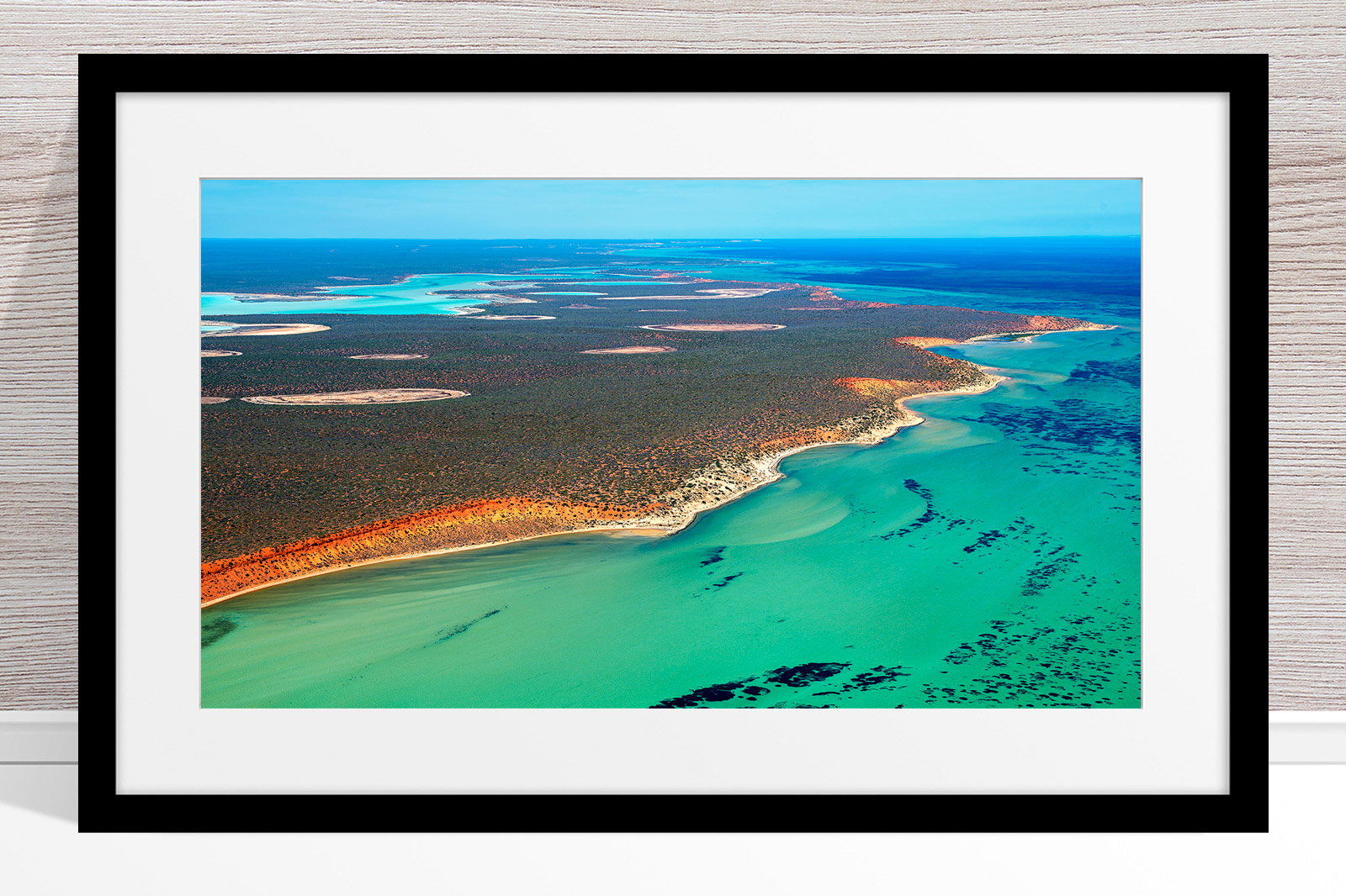 008 - Jason Mazur - 'Shark Bay Coastline' Black Frame