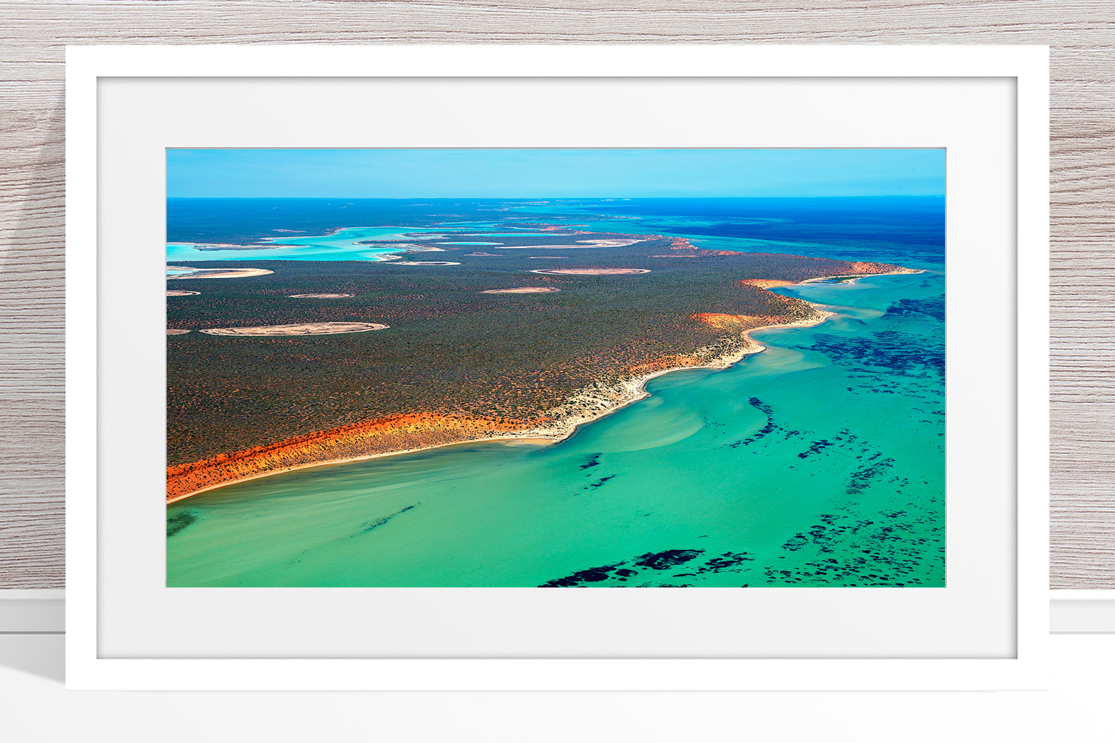 008 - Jason Mazur - 'Shark Bay Coastline' White Frame