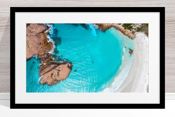 013 - Jason Mazur - 'Twilight Beach Aerial, Esperance' Black Frame