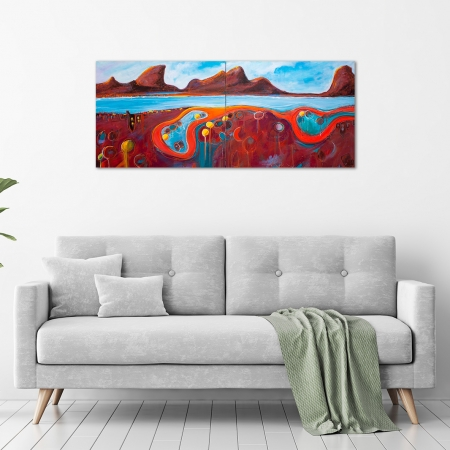 Tania Chanter- 'Meandering Coastal Road' Diptych in a room