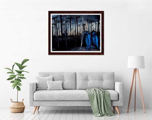 Glenn Brady - 'Blue Birds' Framed in a room