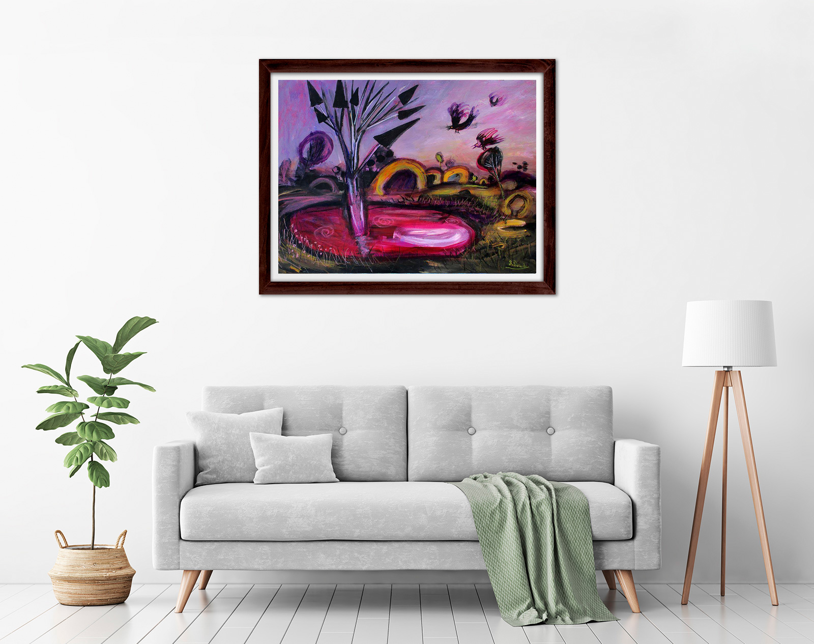 Glenn Brady - 'Magenta Billabong' Framed in a room