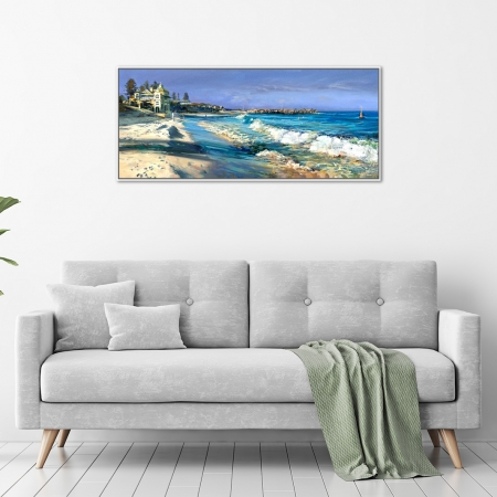 Greg Baker - 'Winter Beach, Cottesloe' Framed, in a room