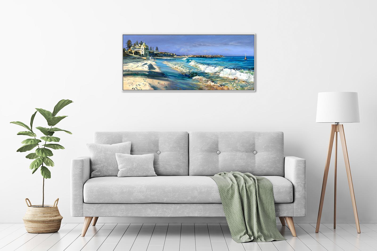 Greg Baker - 'Winter Beach, Cottesloe' Framed, in a room