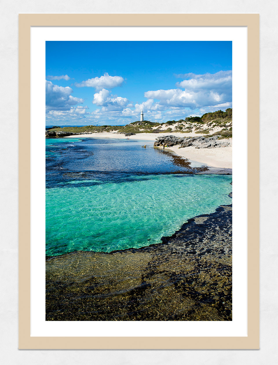 Jason Mazur - 'The Basin, Rottnest Island 033' Light Wood Frame