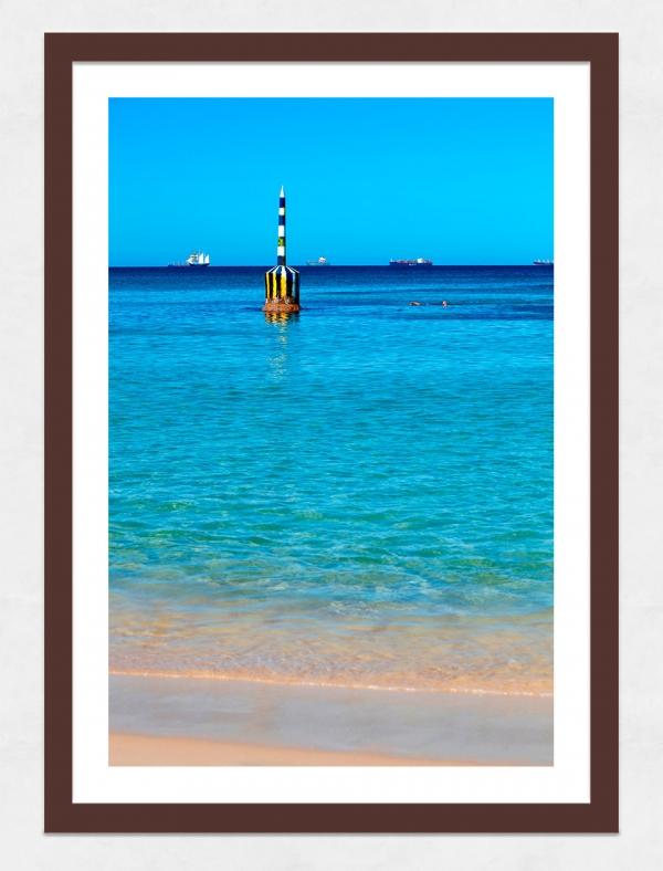 Jason Mazur - 'Cottesloe Beach Pylon 012' Dark Wood Frame