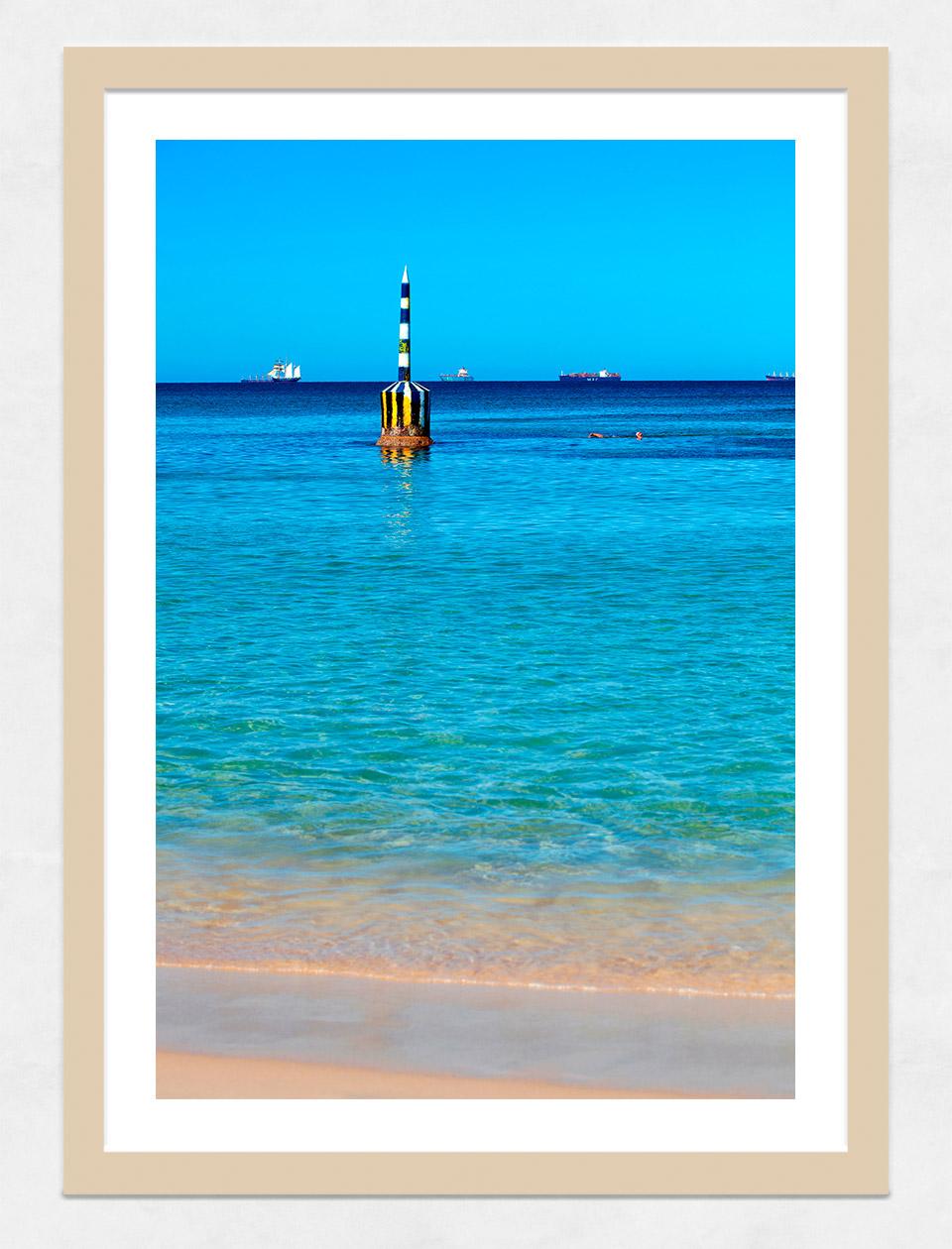 Jason Mazur - 'Cottesloe Beach Pylon 012' Light Wood Frame