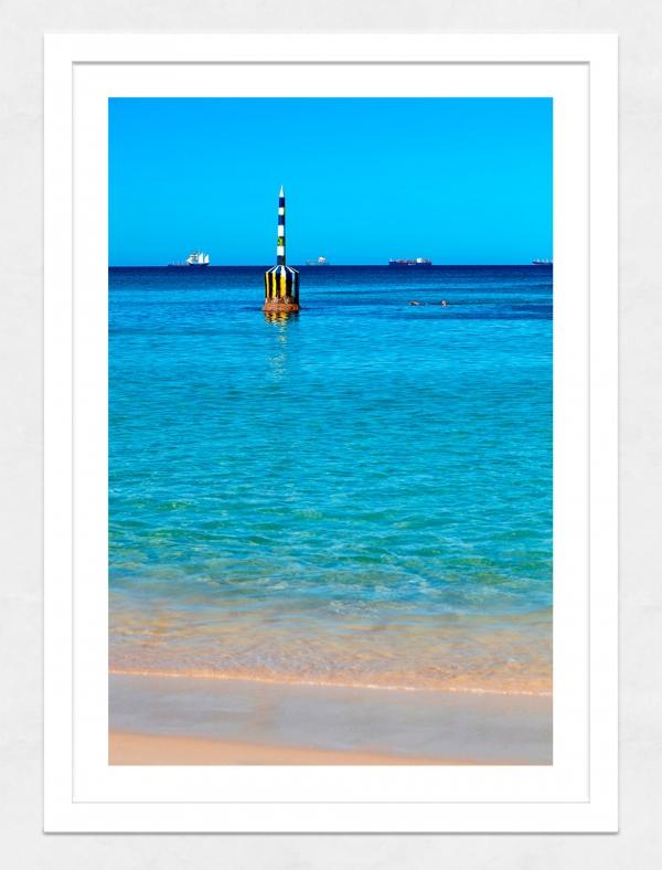 Jason Mazur - 'Cottesloe Beach Pylon 012' White Frame