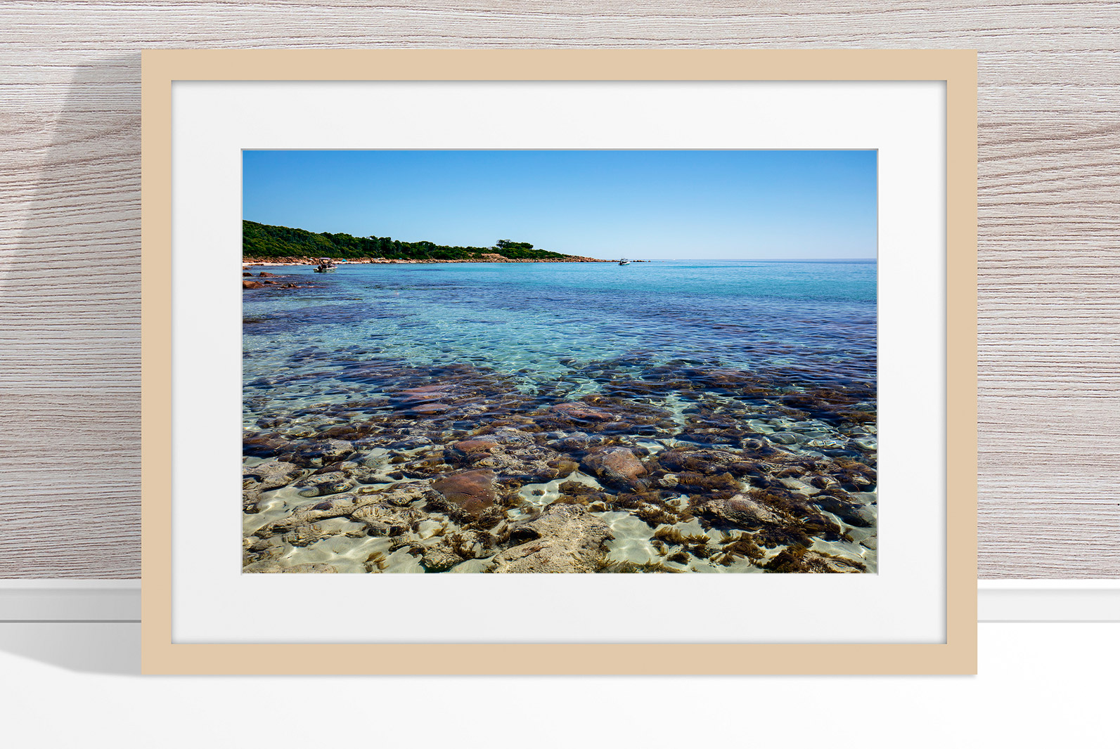 Jason Mazur - 'Meelup Coastline, Dunsborough 012' Light Wood Frame