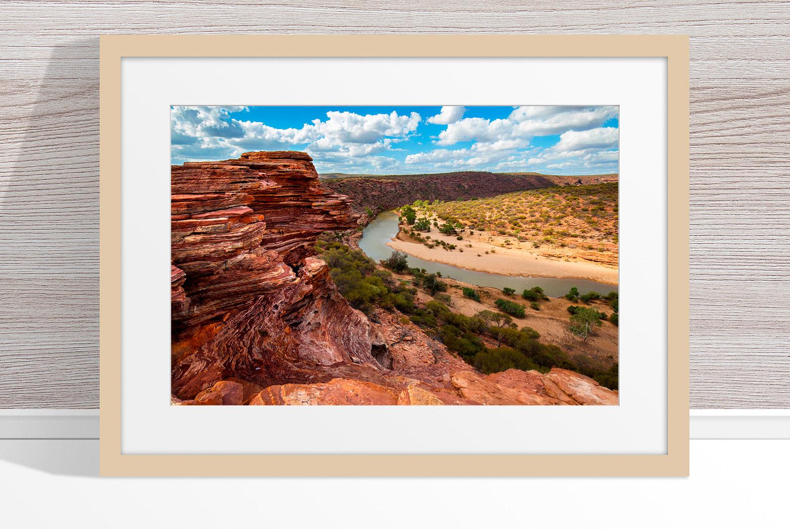 Jason Mazur - 'Murchison River Gorge 005' Light Wood Frame