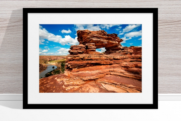 Jason Mazur - 'Nature's Window, Kalbarri 006' Black Frame