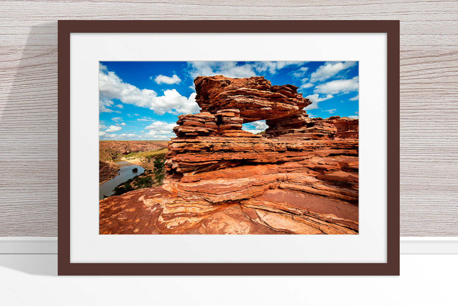 Jason Mazur - 'Nature's Window, Kalbarri 006' Dark Wood Frame