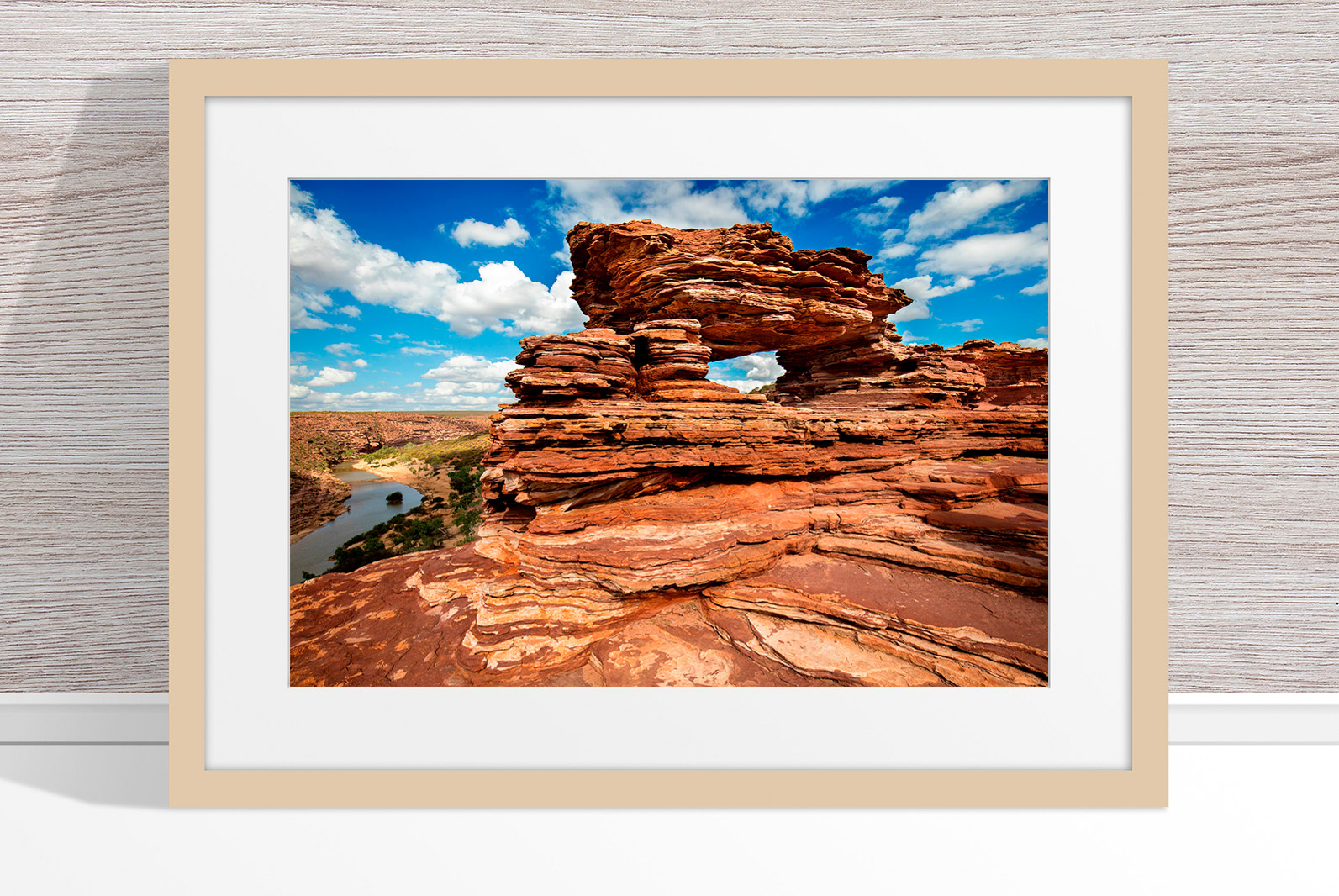 Jason Mazur - 'Nature's Window, Kalbarri 006' Light Wood Frame