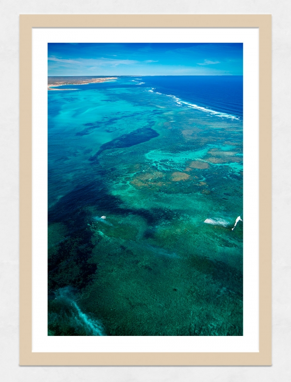 Jason Mazur - 'Ningaloo Reef, Coral Bay 013' Light Wood Frame