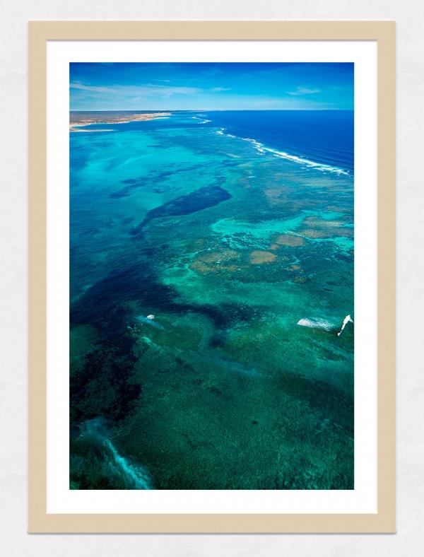 Jason Mazur - 'Ningaloo Reef, Coral Bay 013' Light Wood Frame