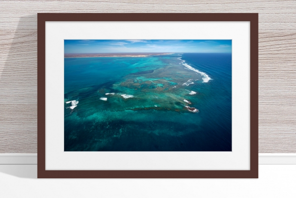 Jason Mazur - 'Ningaloo Reef, Coral Bay 014' Dark Wood Frame