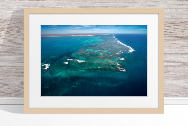 Jason Mazur - 'Ningaloo Reef, Coral Bay 014' Light Wood Frame