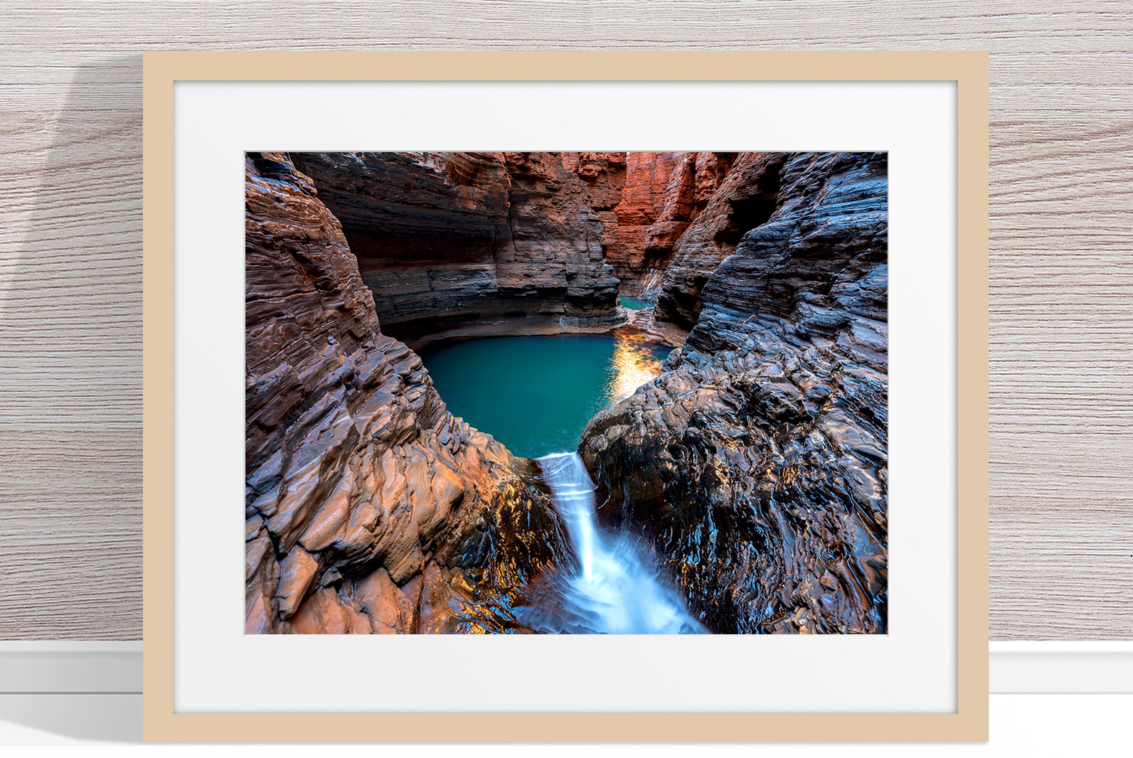 Jason Mazur - 'Regan's Pool, Hancock Gorge 036' Light Wood Frame