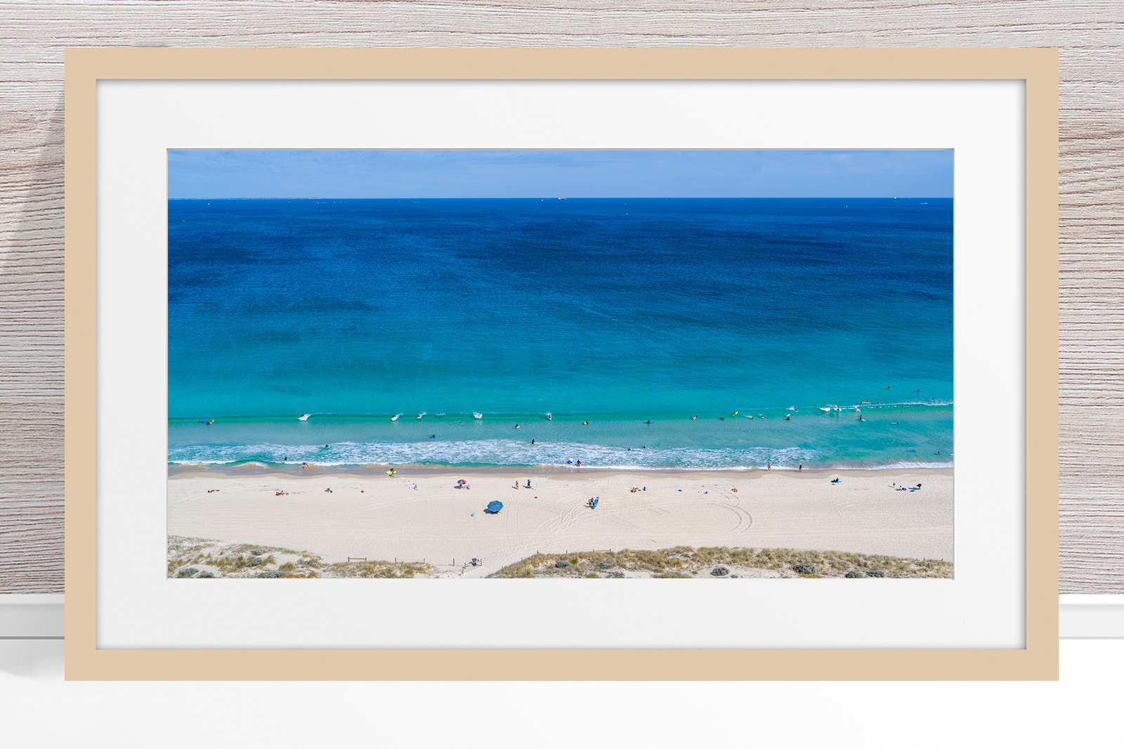 Jason Mazur - 'Scarborough Beach 0702' Light Wood Frame