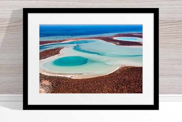 Jason Mazur - 'Big Lagoon, Shark Bay 011' Black Frame