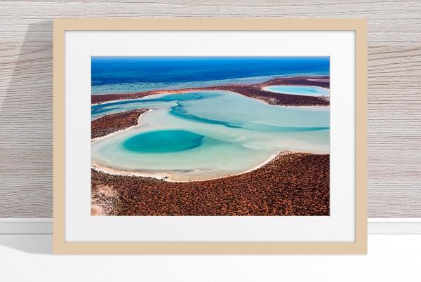 Jason Mazur - 'Big Lagoon, Shark Bay 011' Light Wood Frame