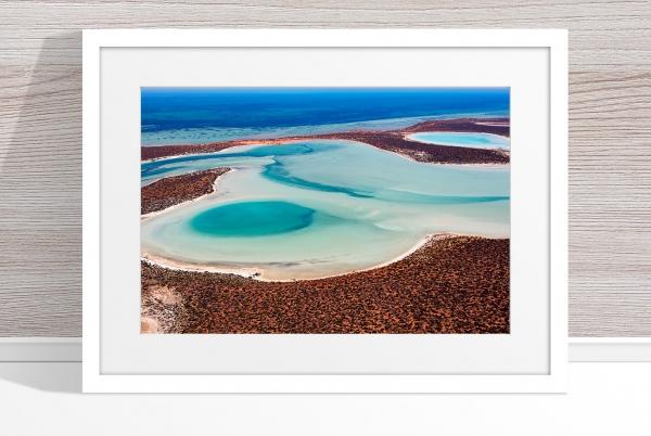 Jason Mazur - 'Big Lagoon, Shark Bay 011' White Frame