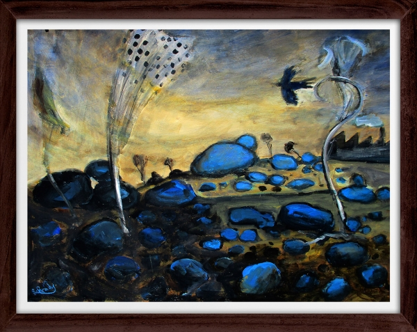 Glenn Brady - 'Blue Rocks' Framed