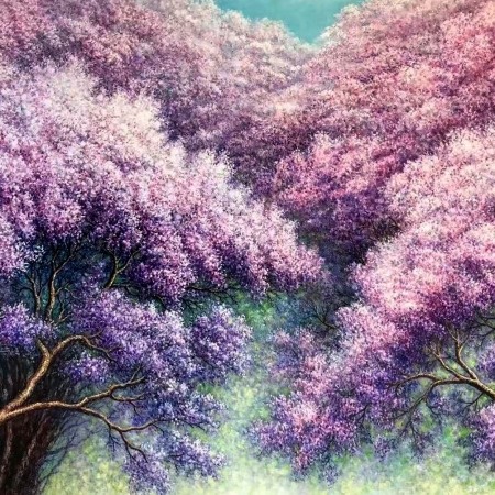 Alex Mo - 'Blossoming Jacaranda Flowers'
