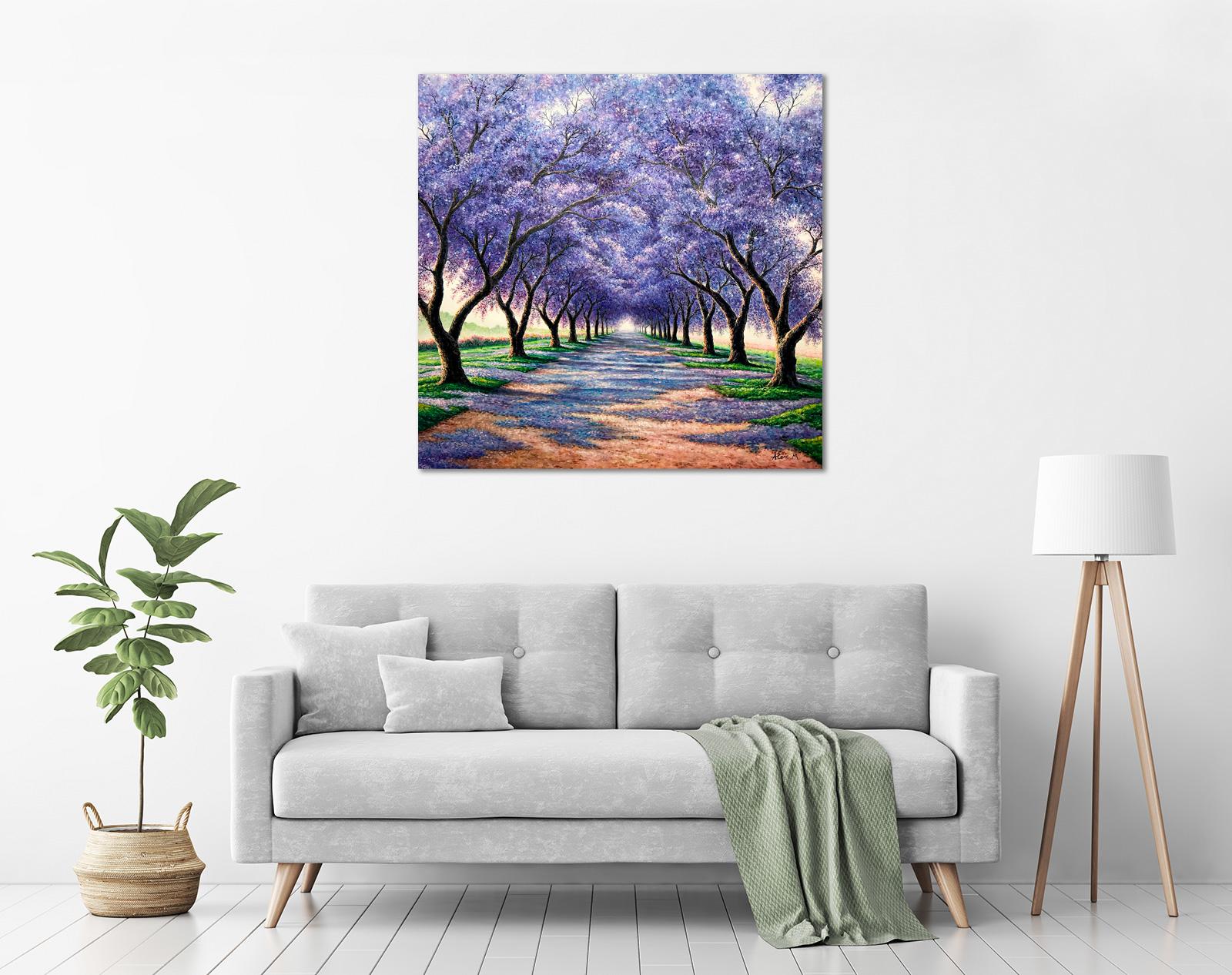 Alex Mo - 'Jacaranda Flowers' in a room