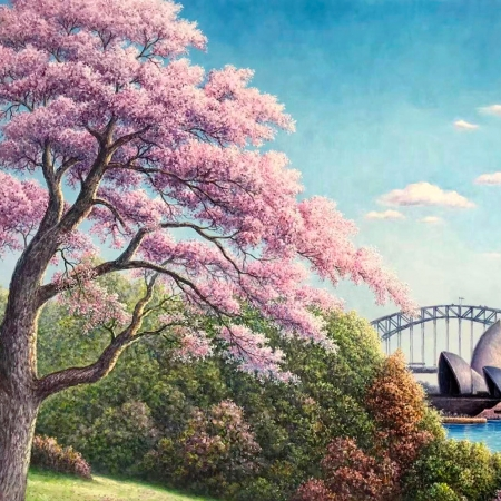 Alex Mo - 'Opera House and Jacarandas'