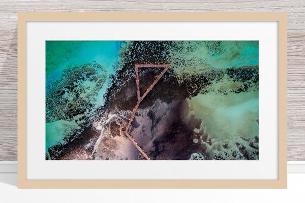 Jason Mazur - 'Stromatolites, Hamelin Pool, Shark Bay 885' Light Wood Frame