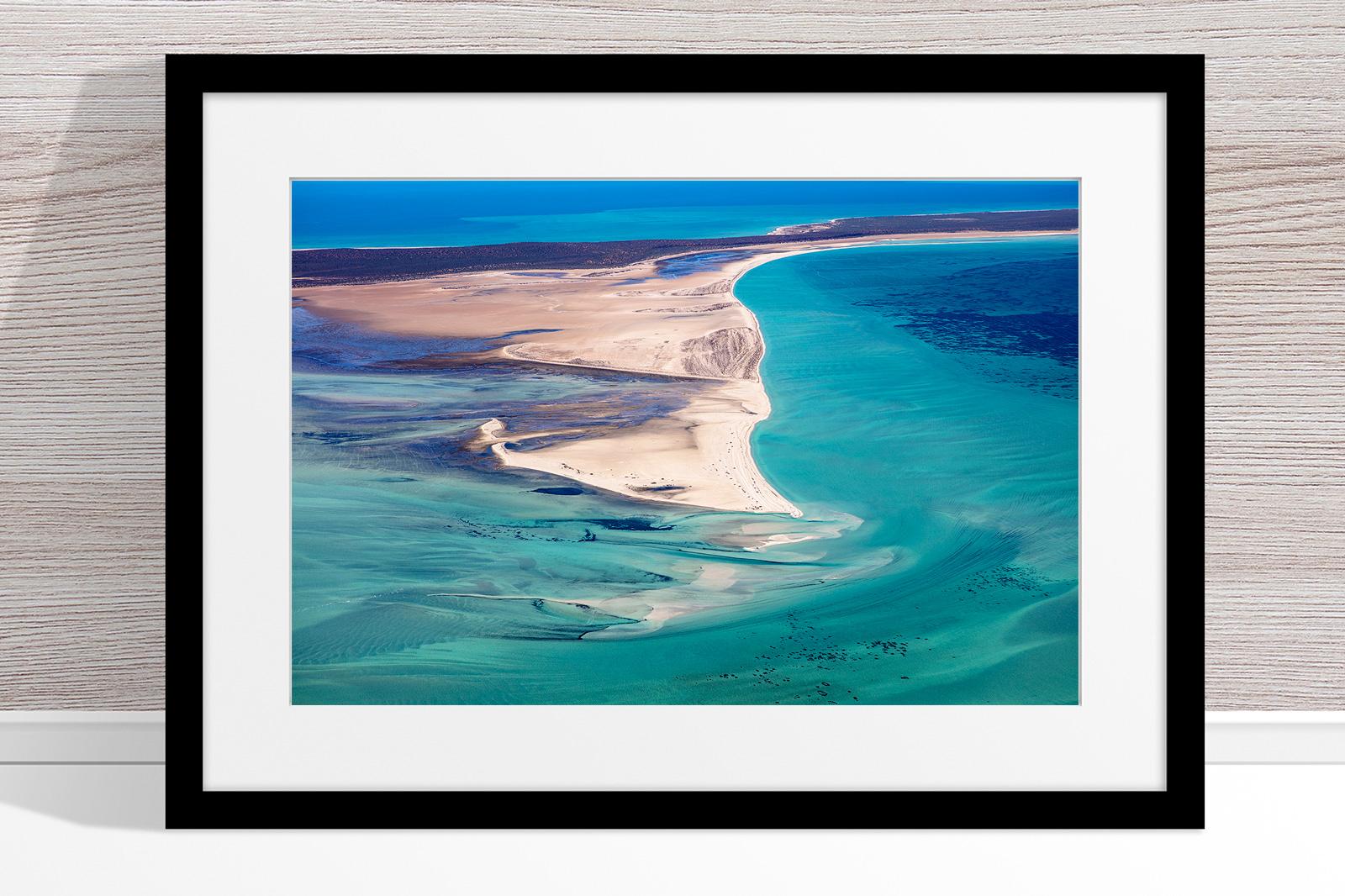 Jason Mazur - 'Shark Bay Aerial 081' Black Frame
