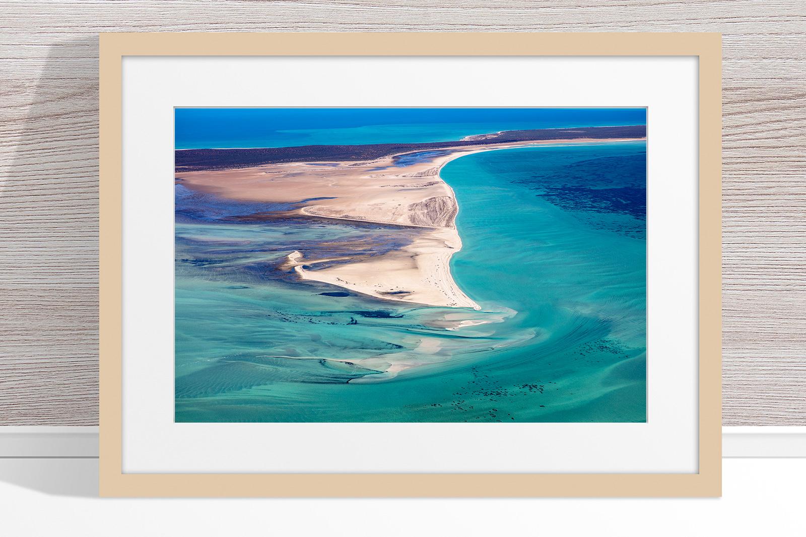 Jason Mazur - 'Shark Bay Aerial 081' Light Wood Frame