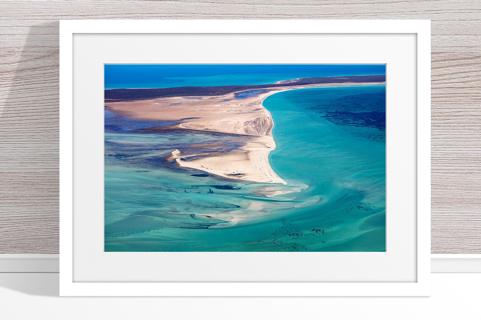 Jason Mazur - 'Shark Bay Aerial 081' White Frame