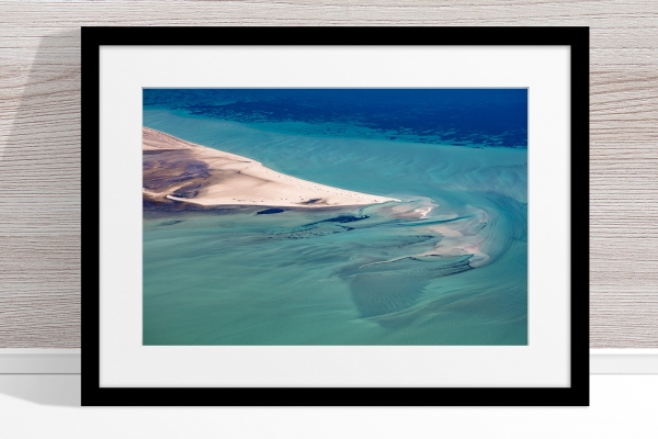 Jason Mazur - 'Shark Bay Aerial 088' Black Frame