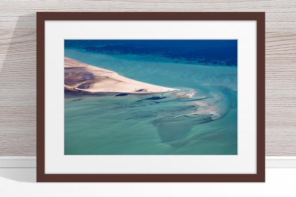 Jason Mazur - 'Shark Bay Aerial 088' Dark Wood Frame