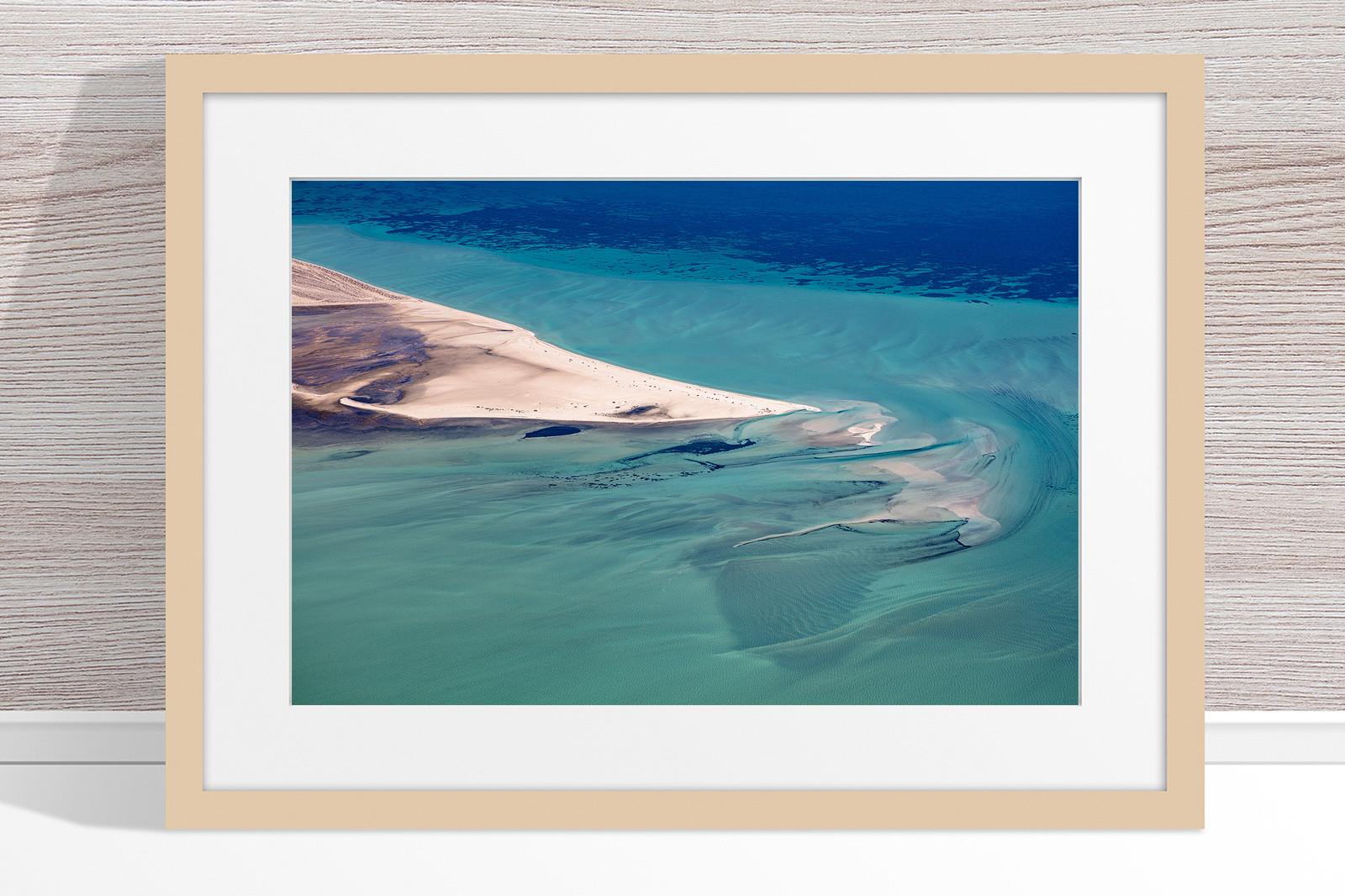 Jason Mazur - 'Shark Bay Aerial 088' Light Wood Frame