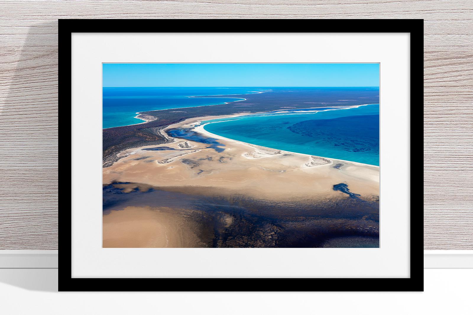 Jason Mazur - 'Shark Bay Aerial 105' Black Frame