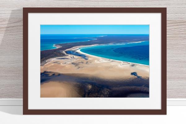 Jason Mazur - 'Shark Bay Aerial 105' Dark Wood Frame