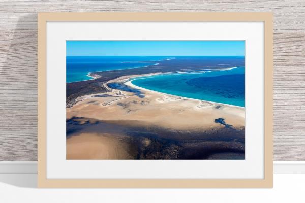Jason Mazur - 'Shark Bay Aerial 105' Light Wood Frame