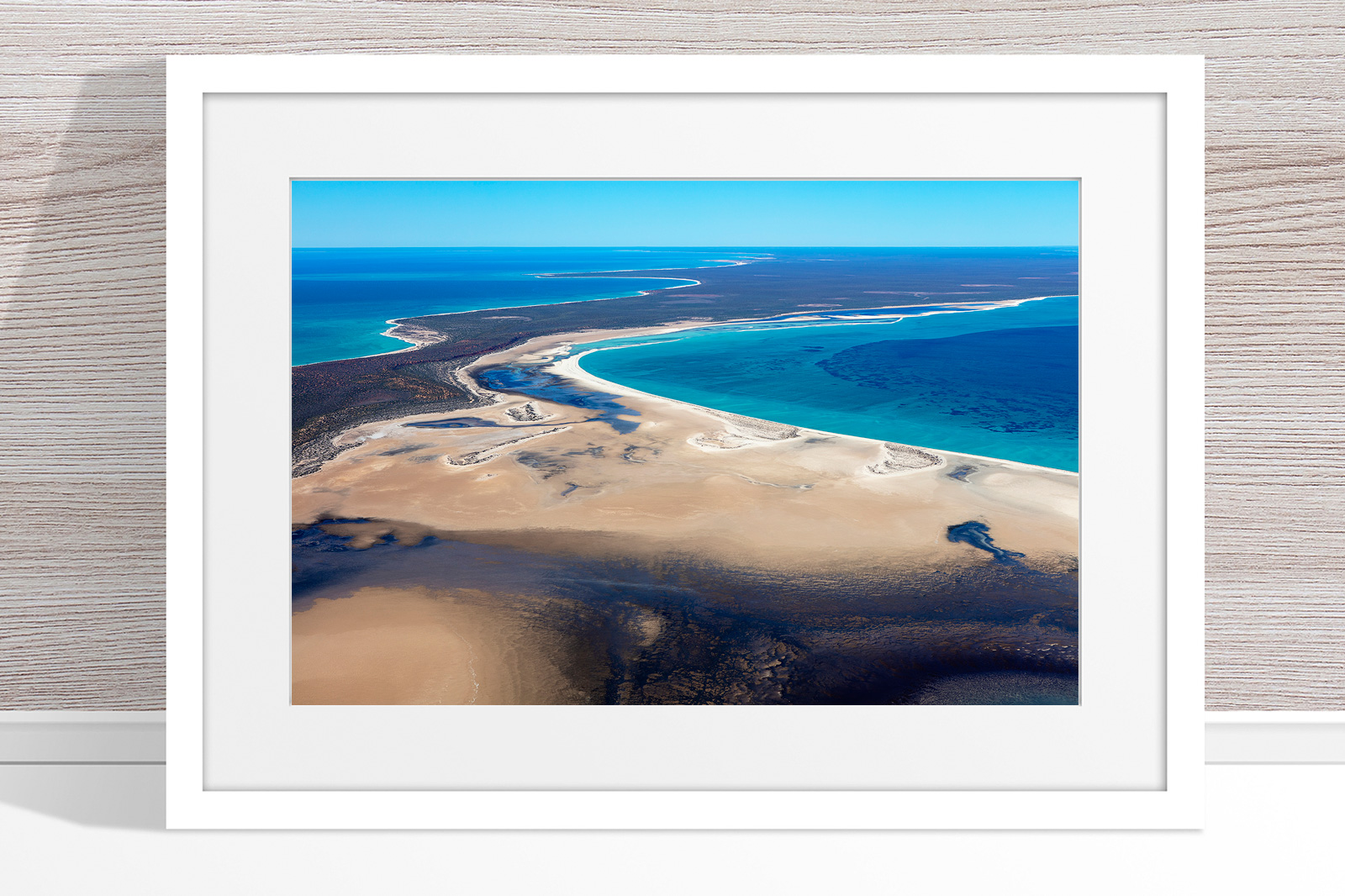 Jason Mazur - 'Shark Bay Aerial 105' White Frame