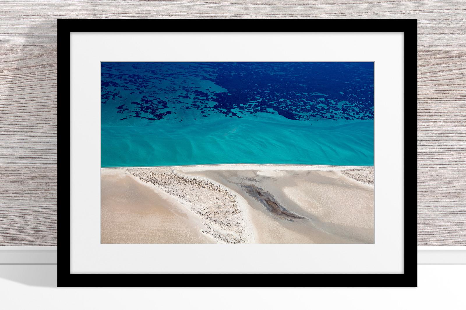 Jason Mazur - 'Shark Bay Aerial 124' Black Frame